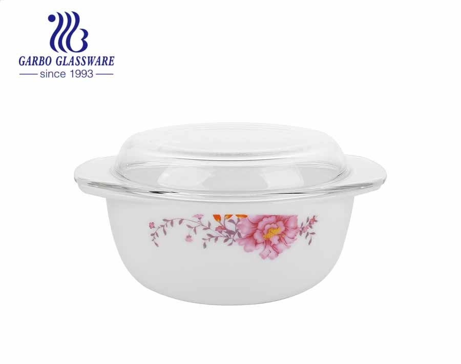 China Good Quality 1.5L Healthy Easy Heat Resistant White Opal Glassware Round Casserole