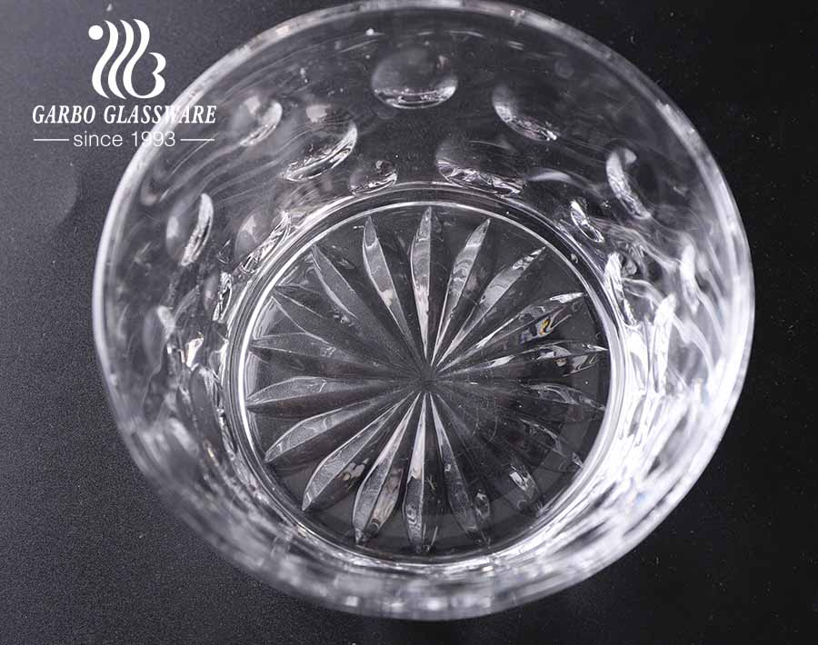 7 PCS high-white embossed glass salad fruit bowl set with engraved pattern design for daily dinner use