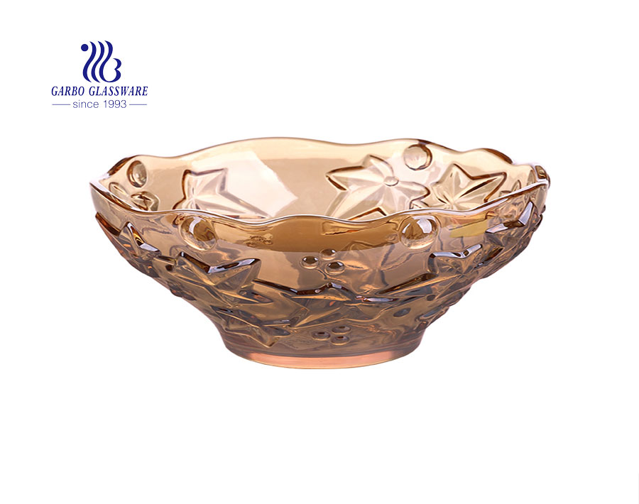 Wholesale 10-inch ion plating amber color glass fruit bowl with maple leaf pattern