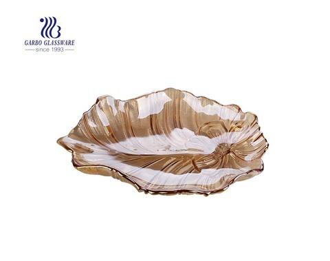 صفيحة فواكه زجاجية كبيرة مقاس 17 بوصة مطلية باللون الكهرماني مع تصميم أوراق اللوتس