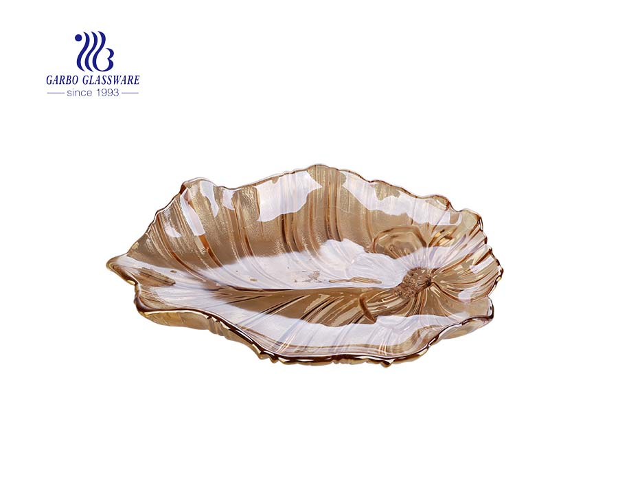 Ion plating large 17-inch amber color special glass fruit plate with lotus leaf design