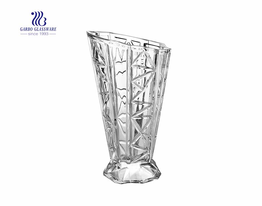 11.5 inches height Floor Style Glass Fancy Clear Transparent Flower Holder Glass Vase  living room hotel wedding party use