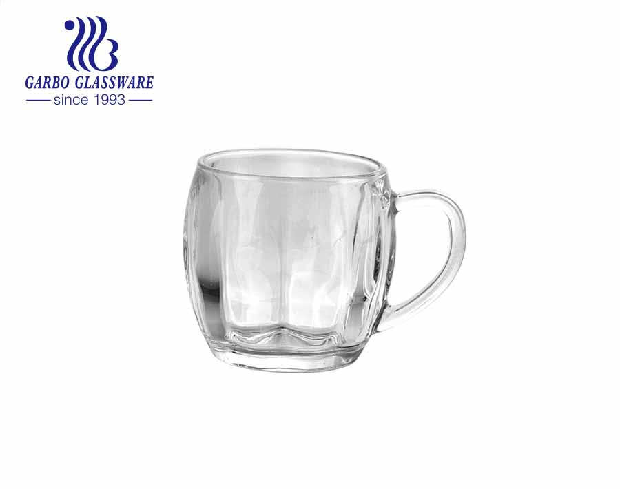 265ml high quality clear glass cup with handle glass coffee tea mugs with pattern for daily use