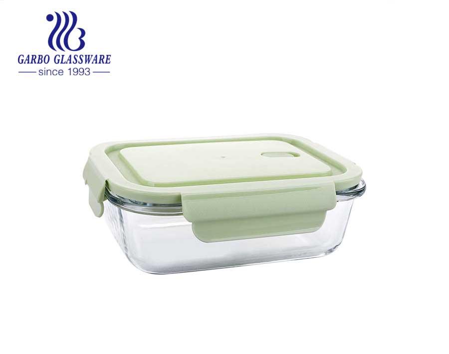 صديقة للبيئة مانعة للتسرب الزجاج وجبة الإعدادية مربع غطاء سيليكون تخزين الزجاج الغذاء الحاويات