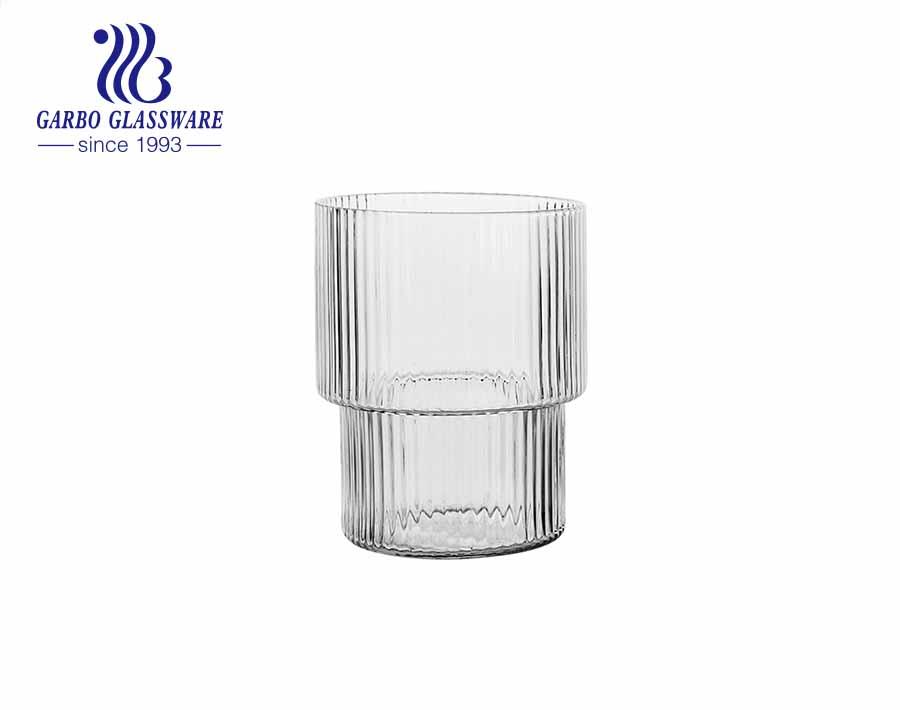 Vertical stripe glass tumbler handmade blown glassware with multi sizes
