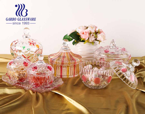 6 بوصة محفورة روز تصميم الرملي ورش الزجاج لون برطمان الحلوى مع غطاء