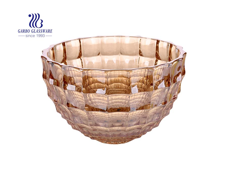 Big size 11-inch amber color food safe glass fruit bowl with diamond design