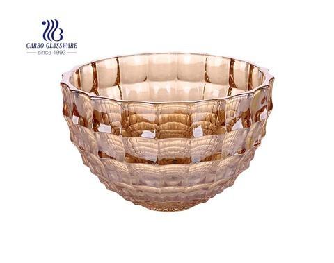 وعاء فواكه زجاجي آمن للطعام بحجم 11 بوصة بلون العنبر بتصميم ماسي
