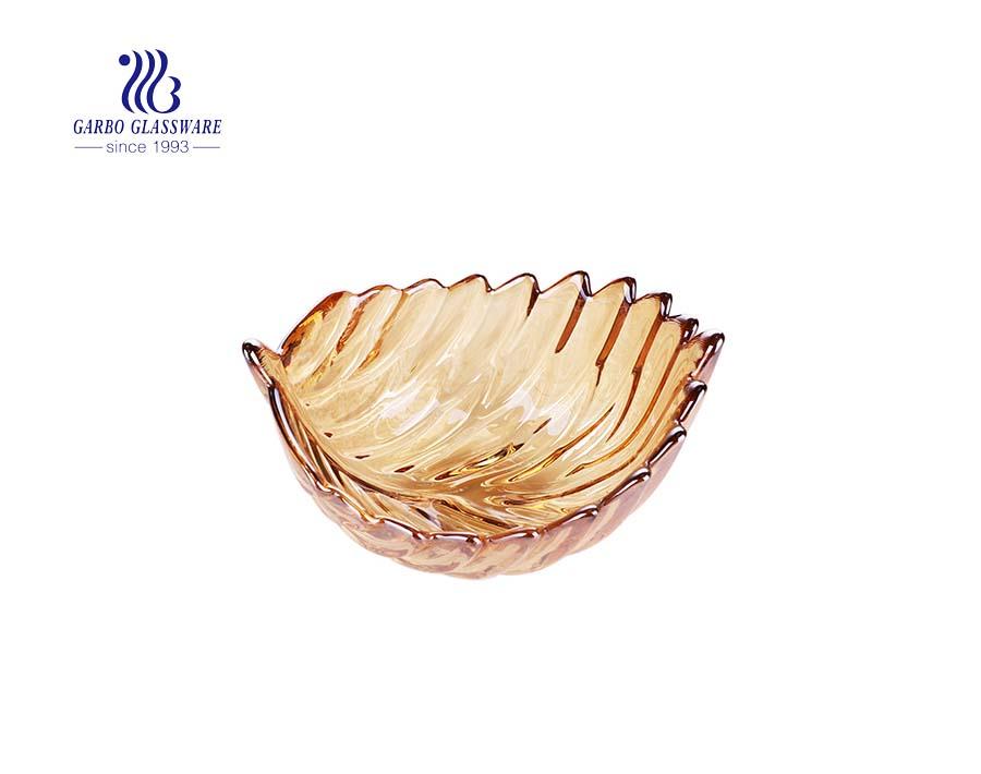 Kích thước lớn 11 inch màu hổ phách bát đựng trái cây thủy tinh an toàn với thiết kế kim cương
