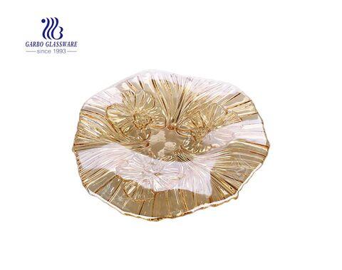 صحن فواكه زجاجي مسطح من Garbo مقاس 11 بوصة مع نمط زهرة الأوراق