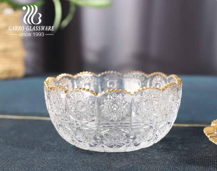 Thổ Nhĩ Kỳ phong cách Thổ Nhĩ Kỳ khắc hoa hướng dương thủy tinh tráng miệng bát tráng miệng với đĩa có viền vàng trang trí