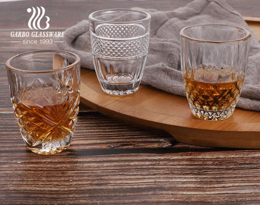 In stock 2oz 50ML mini glass cup engraved shot glass small glass for Arabic tea