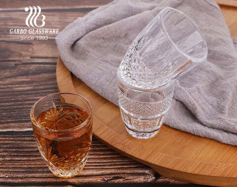 متوفر 2 أوقية 50 مل كوب زجاجي صغير محفور زجاج صغير للشاي العربي