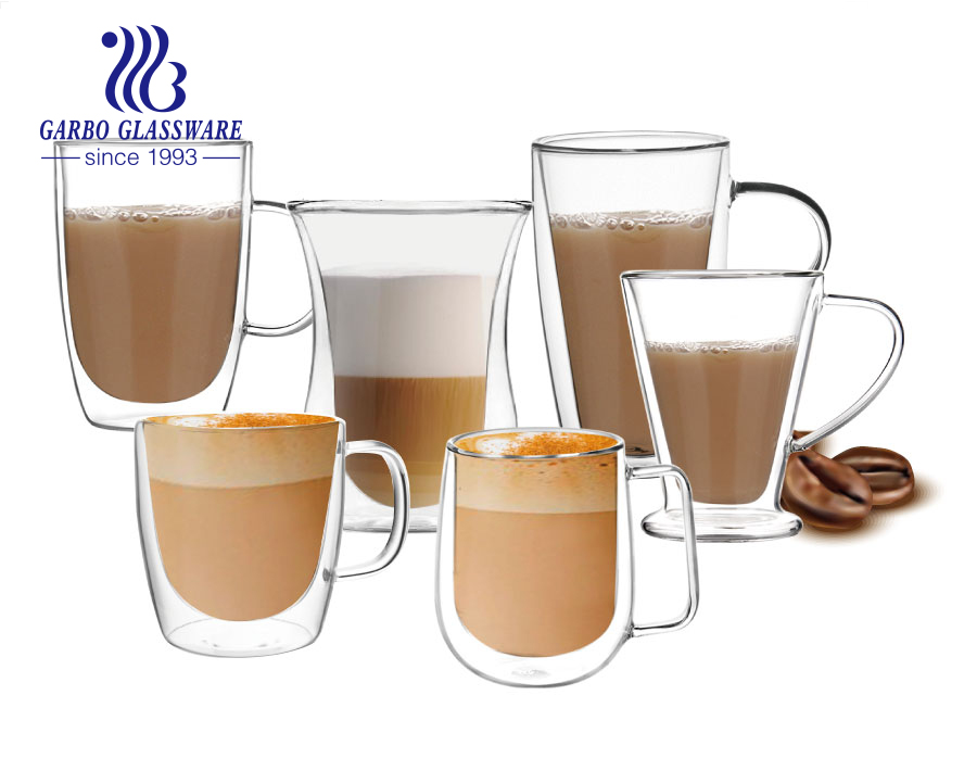 Hot selling double wall glass coffee cups high quality handmade tea mugs