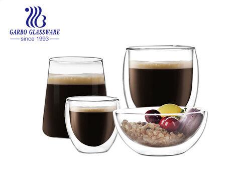 أكواب قهوة زجاجية مزدوجة الجدار رائجة البيع عالية الجودة أكواب شاي مصنوعة يدويًا