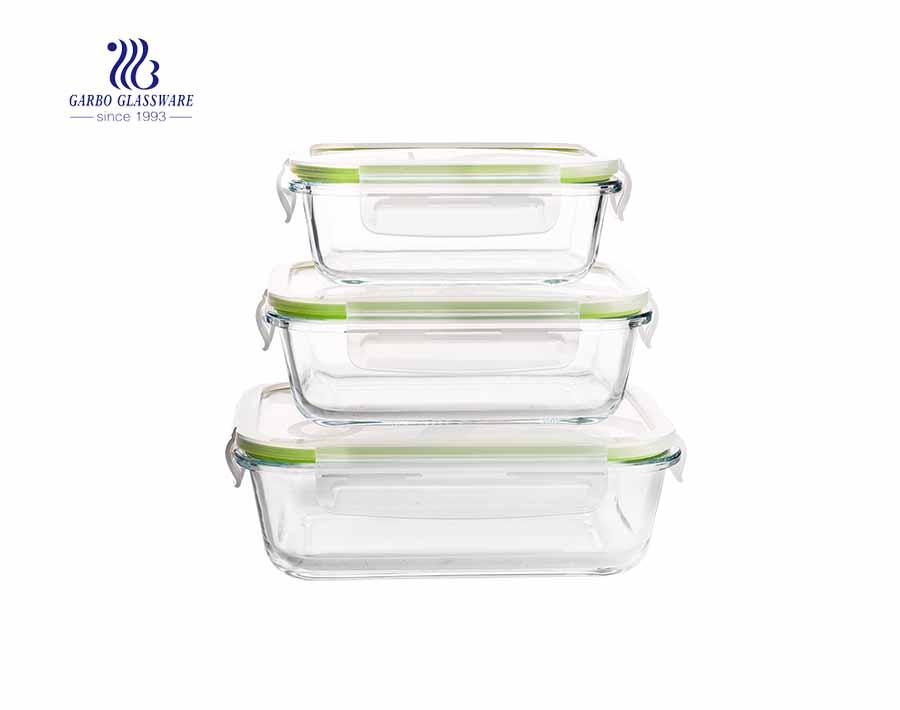 قفل غطاء حاوية الطعام من الزجاج المقسى لمجموعة وعاء فرن الميكروويف أدوات المطبخ الزجاجية