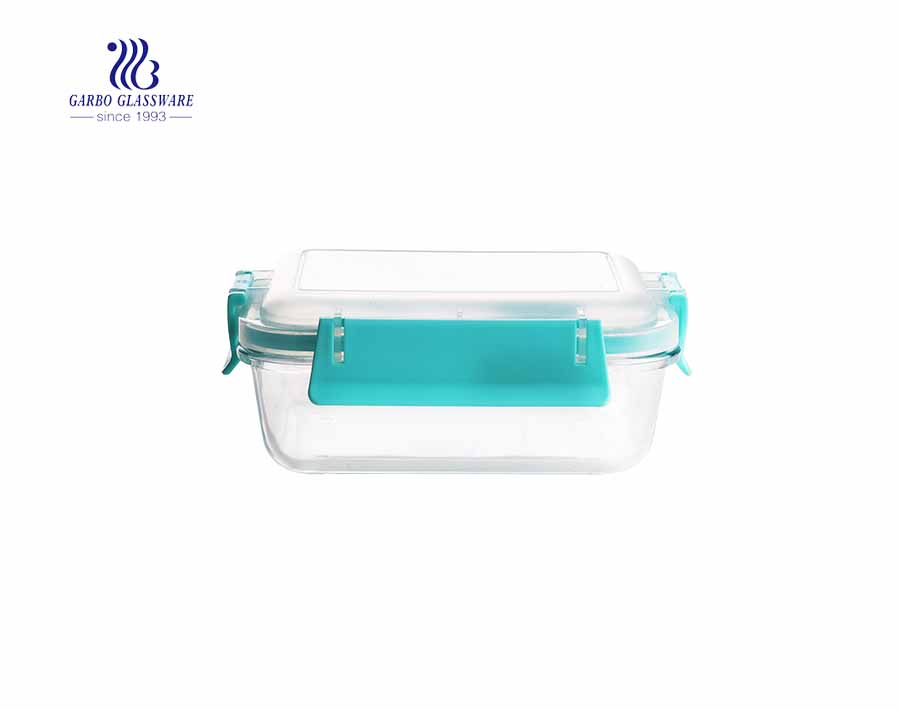 Meal prep 2-compartment bento lunch box glass food container with divider