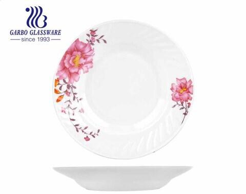 Các nhà sản xuất đồ dùng thủy tinh opal 8 inch đĩa thủy tinh opal đĩa sâu với thiết kế tùy chỉnh