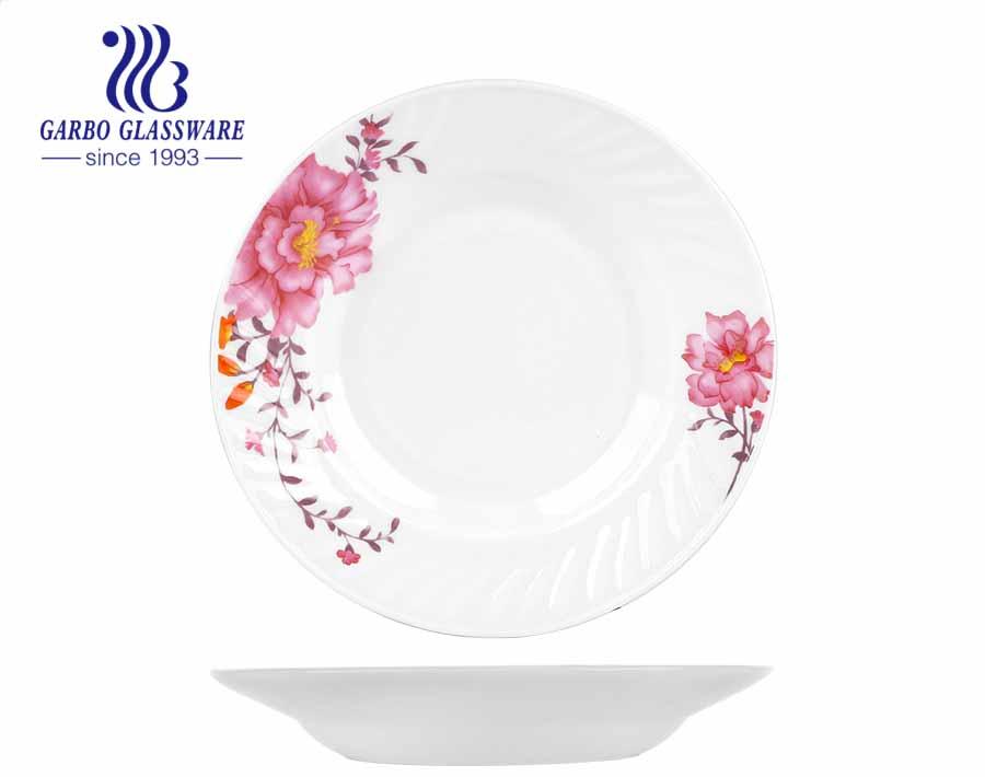 8 بوصة مصنعي الأواني الزجاجية أوبال حساء الزجاج العقيق لوحة عميقة مع تصميم مخصص الزجاج المقسى طبق العشاء طبق أواني الطعام