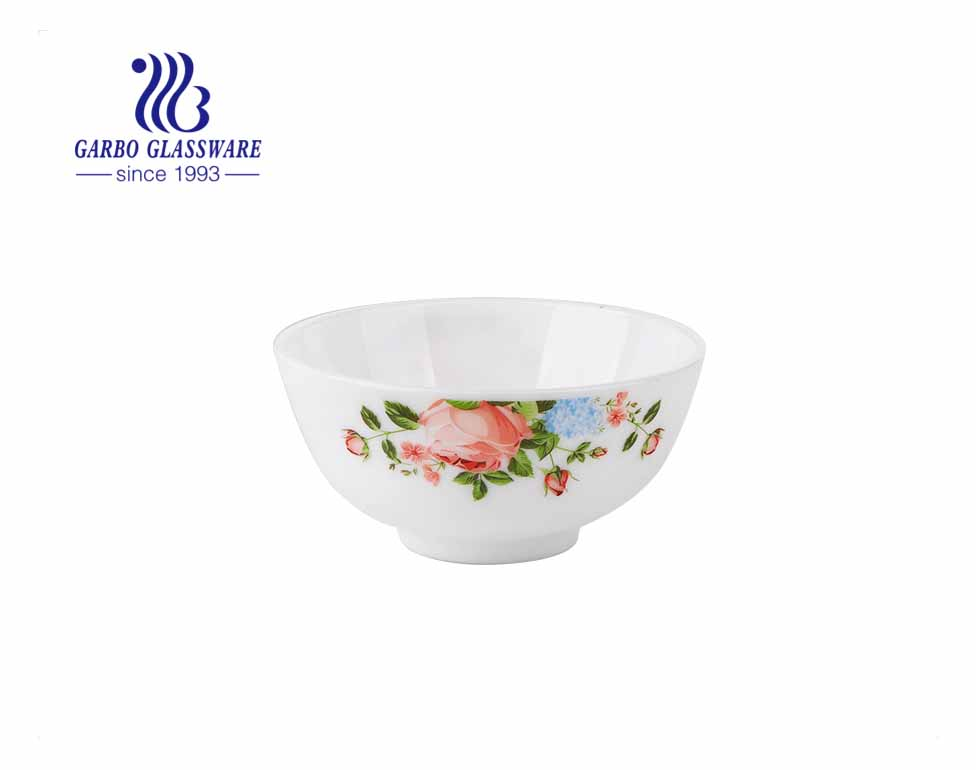 وعاء أرز من الزجاج العقيق الأبيض مقاس 4.5 بوصة مقاوم للحرارة ، أواني زجاجية من العقيق الأبيض