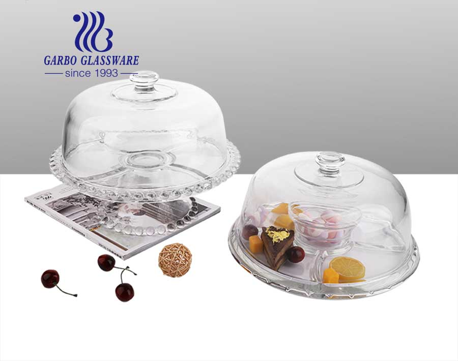 6 IN 1 Multifunctional serving platter carnival glass candy dish with lid