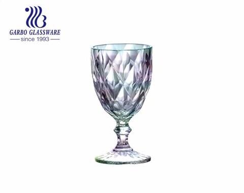 300 مل أيون تصفيح النبيذ كؤوس زجاجية للشرب بألوان قوس قزح للمنزل والمطعم باستخدام