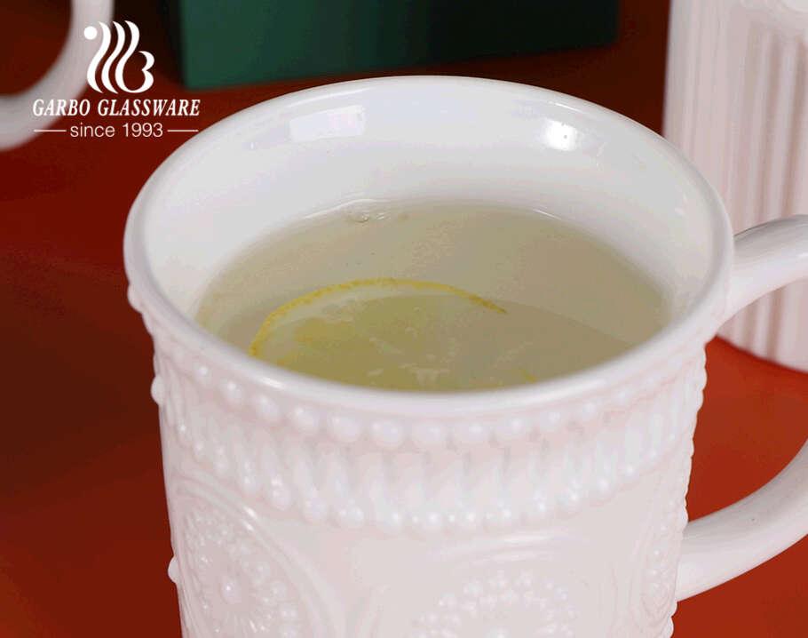 أكواب شاي من Garbo بتصميم جديد محفور عليها زجاج أوبال 330 مللي أكواب قهوة بيضاء شفافة من العقيق