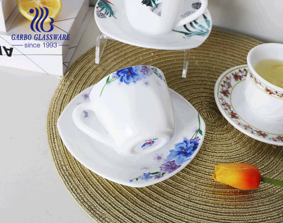 Customized decal designs glass cup with saucer elegant white opal glass teacups with handles