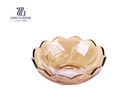 8-inch سميكة طلاء أيون العنبر الزجاج سلطة الفاكهة خلط السلطانيات مع نمط منقوش اللوتس