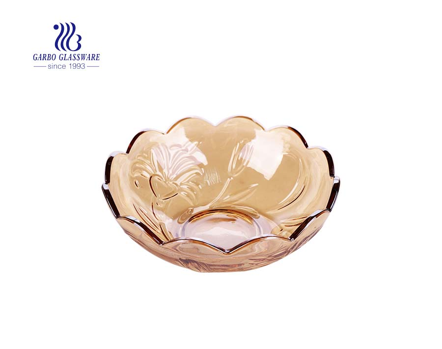 8-inch thick ion plating amber color glass fruit salad mixing bowls with lotus embossed pattern
