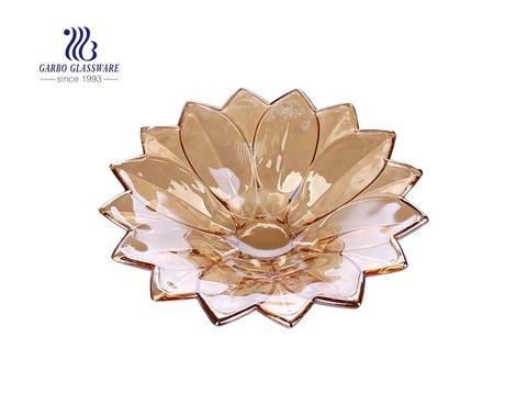 طبق فاكهة زجاجي أنيق بحجم 8 بوصات على شكل لوتس بحجم متوسط مع لون ذهبي كهرماني