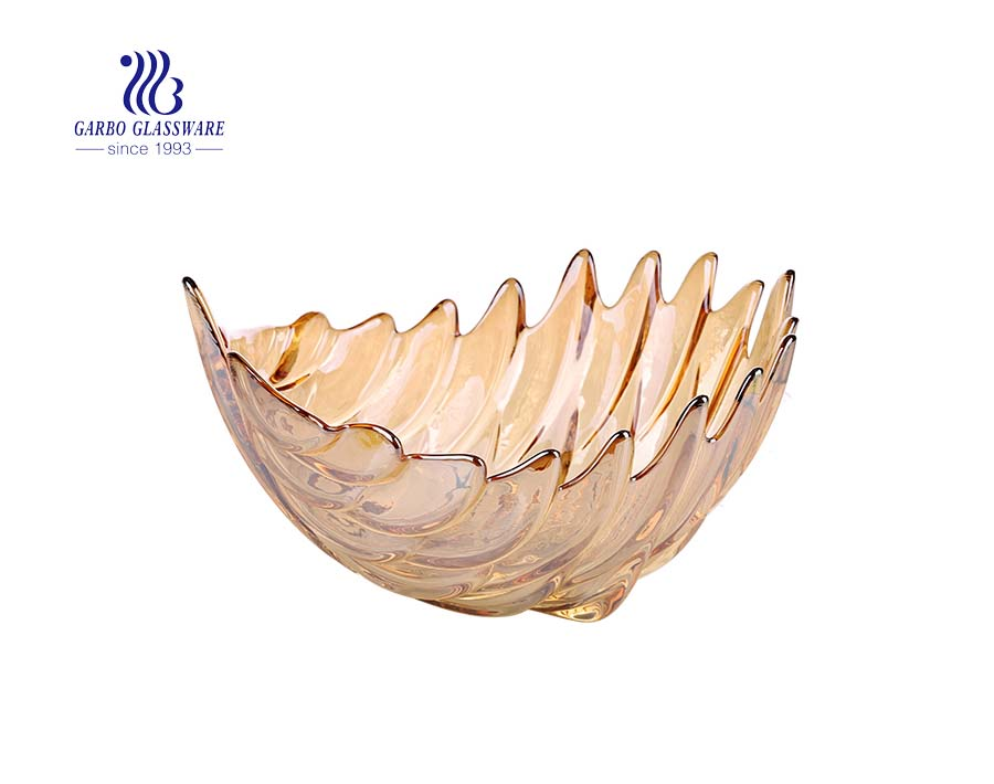 Middle-size 8-inch lotus pattern shape classy glass fruit plate with amber golden color