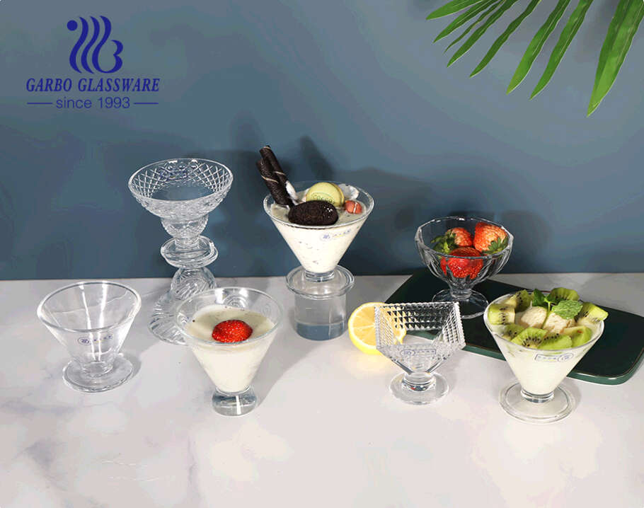 Mini Trifle 4.2 inches Embossed Glass Ice Cream Cup Glass Dessert Fruit Salad Bowl