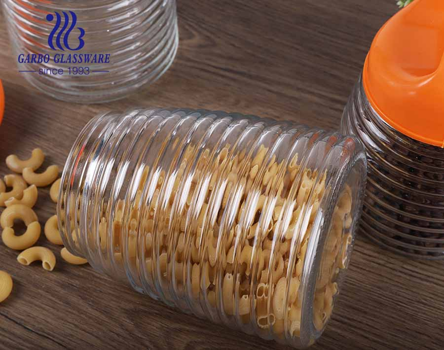 900ml 1300ml 1700ml Set of 3 Wholesale Cheap Glass Food Storage Containers With Srew Plastic Lid