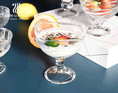 قارب خاص على شكل 10 أوقية زجاجية حلوى فواكه سلطانية منقوشة زجاج كريستال آيس كريم كوب