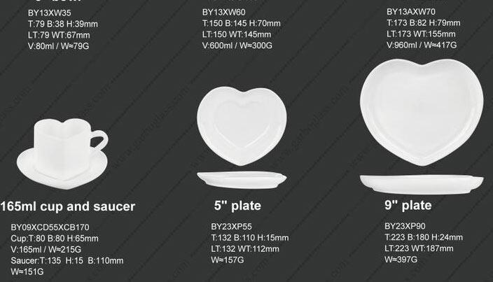 Herzform heiß verkaufende Dekoration Opalglaswaren