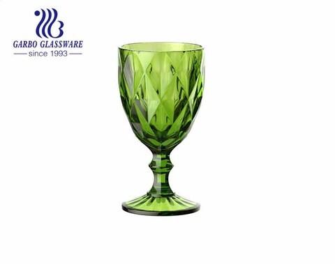 كؤوس زجاجية خضراء اللون لعصير شرب الأواني الزجاجية الماسية للديكور المنزلي