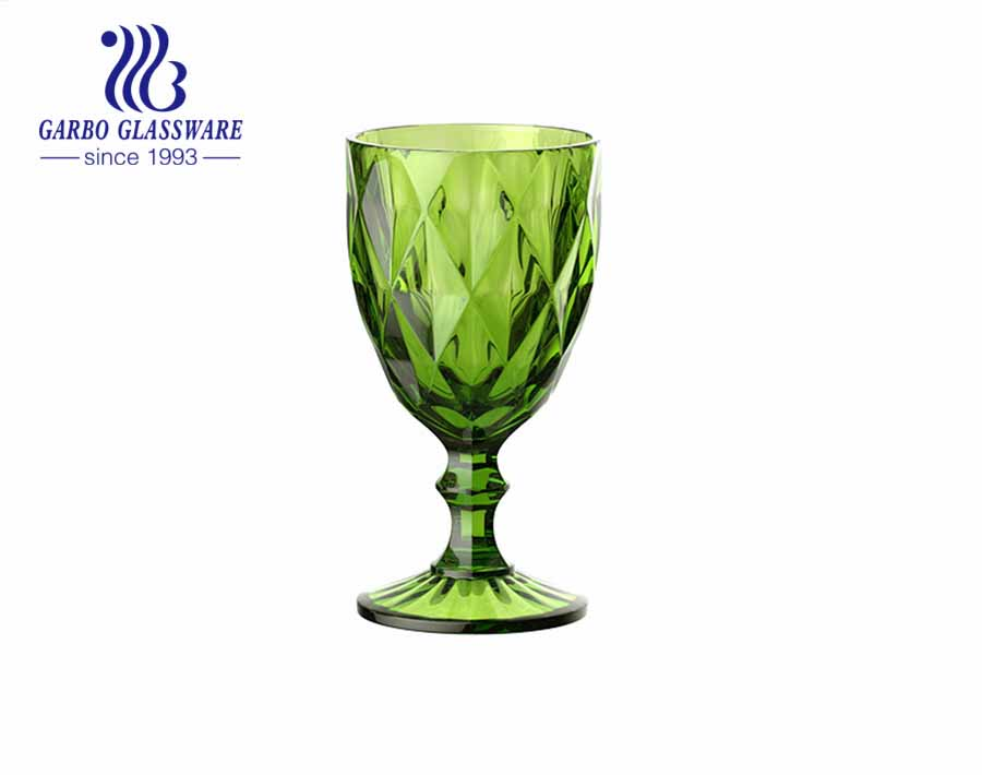 green color glass goblets for juice drinking diamond glassware for home decoration
