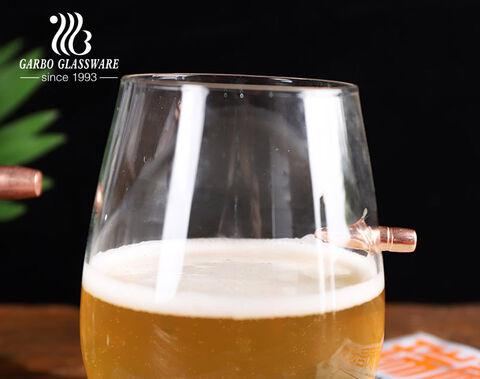 Creative bullet glass tumbler handmade blown glass cup with bullet shot