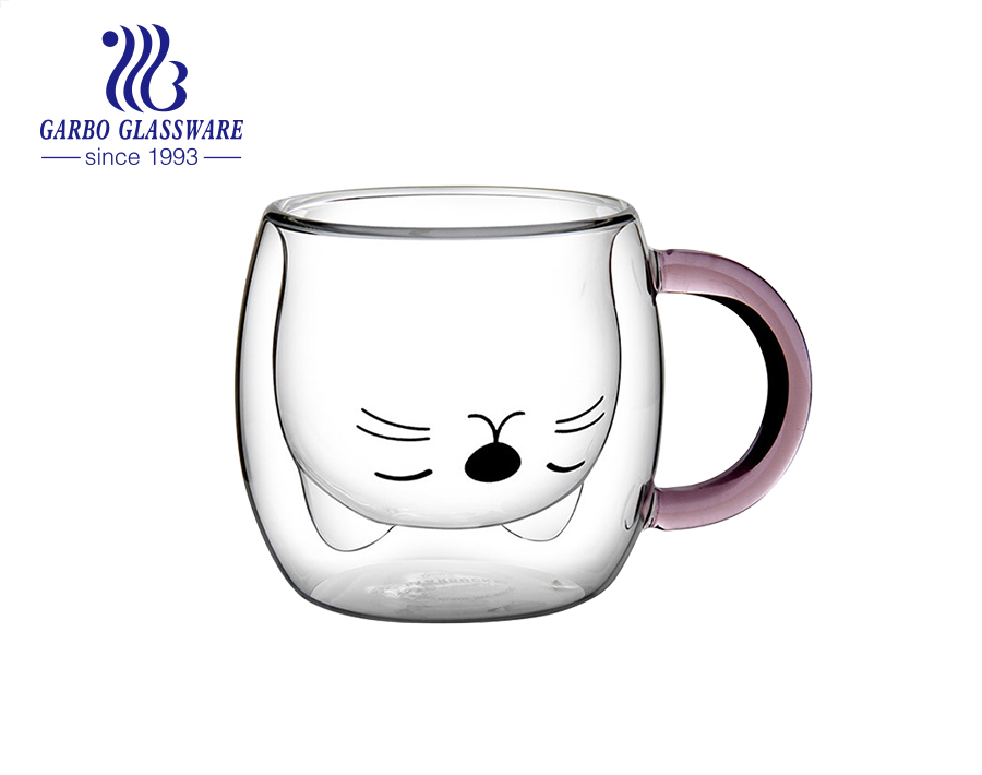 280ml high quality handmade cute cat design double wall glass coffee cup with colored handle