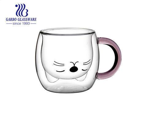 280 مل جودة عالية اليدوية لطيف القط تصميم مزدوج الجدار فنجان قهوة زجاجي مع مقبض ملون