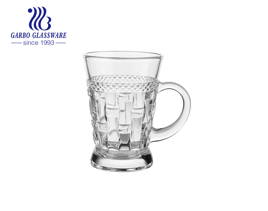 6 ounce engraved glass teacup with handles clear engraved pattern designs glass mugs