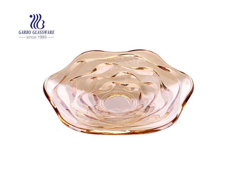 Großhandel Ionenbeschichtung große 14-Zoll-Bernstein Wave Design Glas Obstteller für den Heimgebrauch