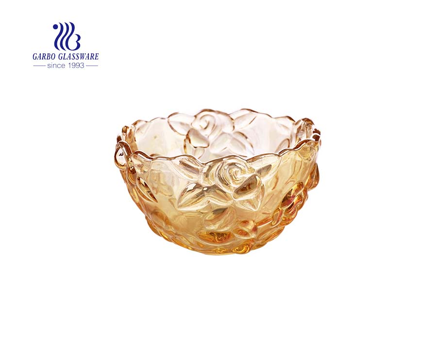 5-inch Amber color small glass salad fruit bowls with embossed plum blossom