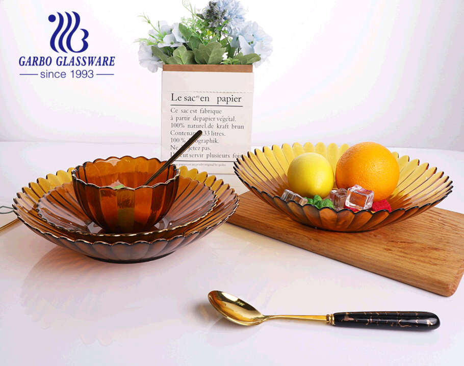 9.7 inches Amber colored glass side plates for salad with luxury mouth gold rim