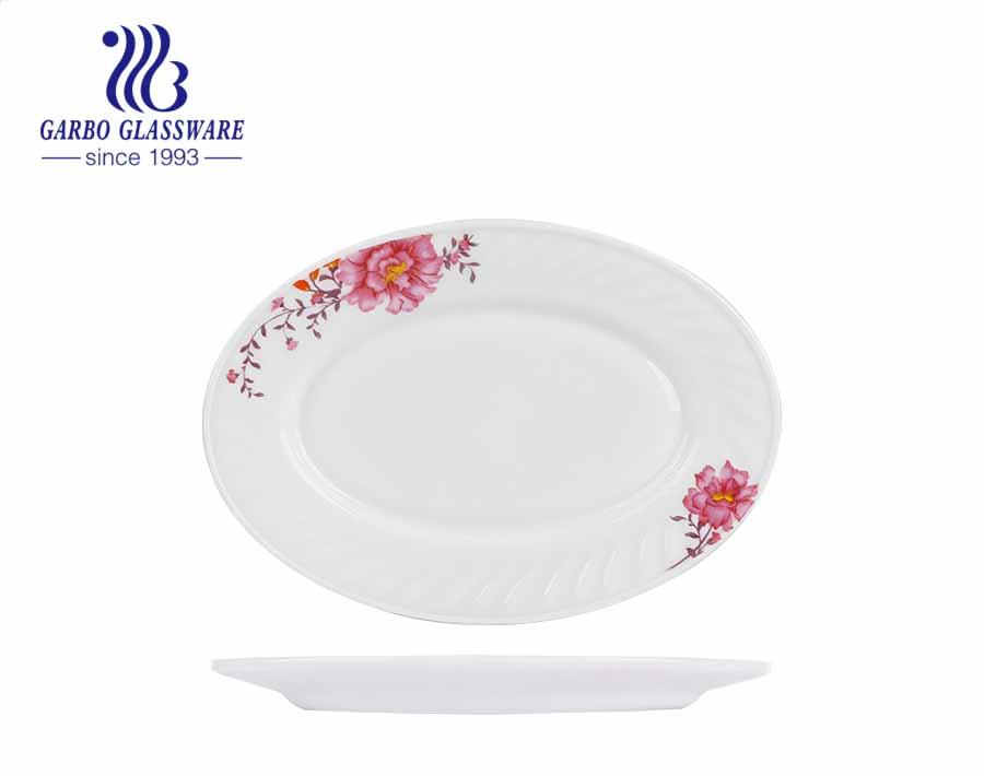 8.5 inch Khả năng chịu nhiệt Đĩa sâu Decal Opal Thủy tinh Bộ đồ nấu ăn Bộ đồ ăn Bộ đồ ăn Cá trắng Đĩa phẳng Đĩa Đĩa thủy tinh Opal