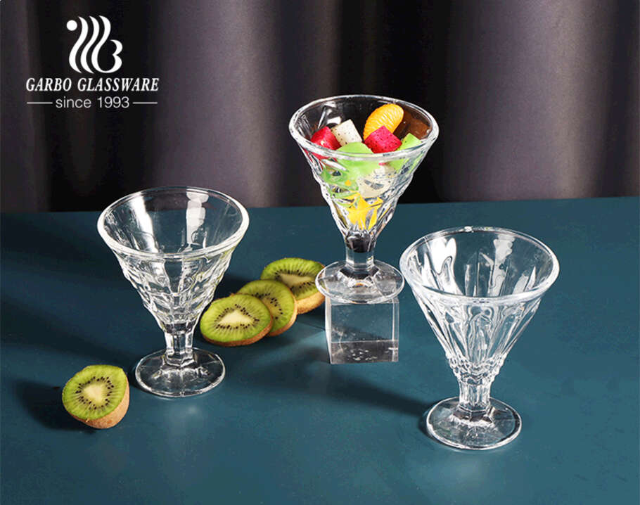 V- Shaped 8oz New Embossed Crystal Glass Ice Cream Cup Sundae Bowls,Dessert Cups for Parfait Pudding Fruit Salad and more