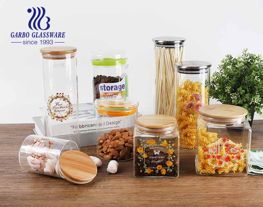 Airtight Glass Canister with Lid Food Storage Jar Storage Container for Kitchen Pasta Sugar Beans Spice