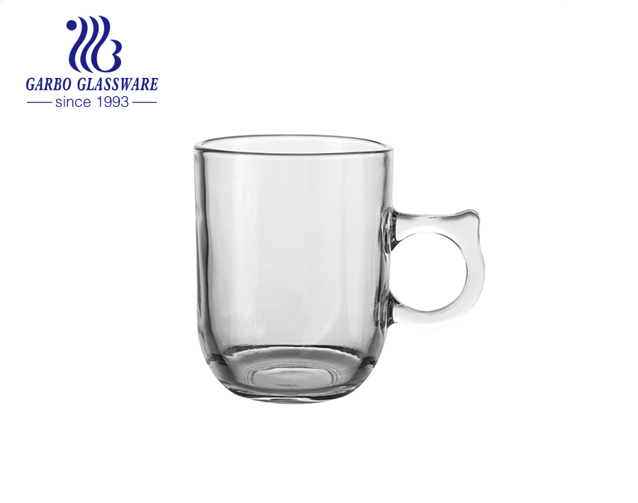 Clear glass tea mug with special handle 8 ounce engraved pattern design glass cups