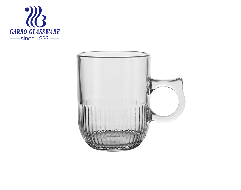 Cốc trà thủy tinh trong suốt có tay cầm đặc biệt cốc thủy tinh thiết kế hoa văn khắc 8 ounce